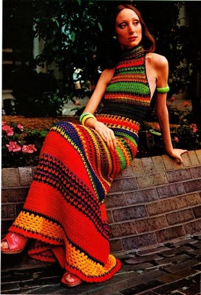 vestido lã colorido anos 70