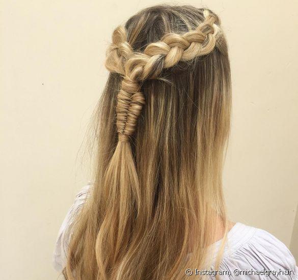 penteado de festa com tranças bonitas