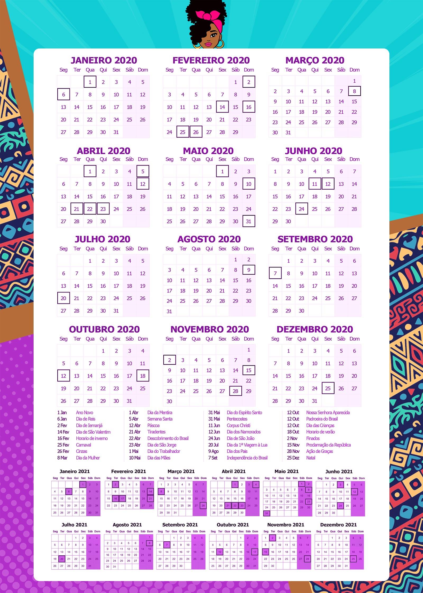 calendário planner 2020