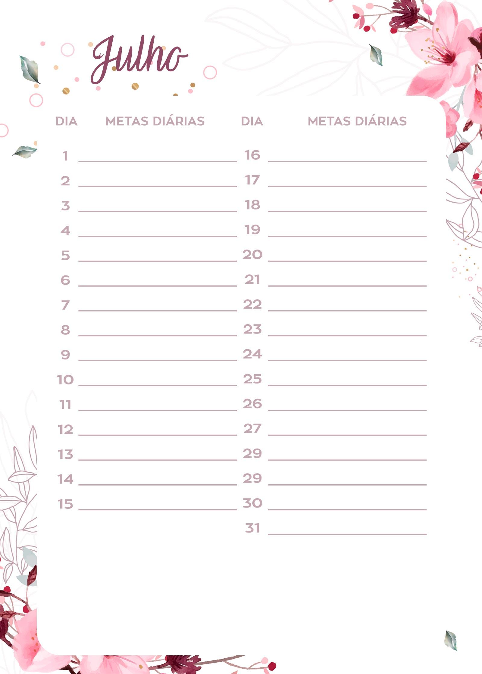 planner 2020 floral para imprimir