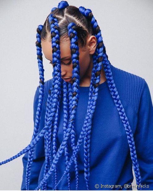 trança box braids azul