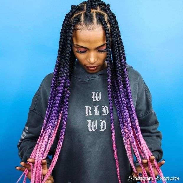 cabelo ombre hair roxo rosa