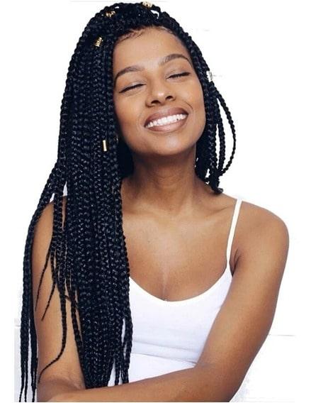 tranças box braids cor preta