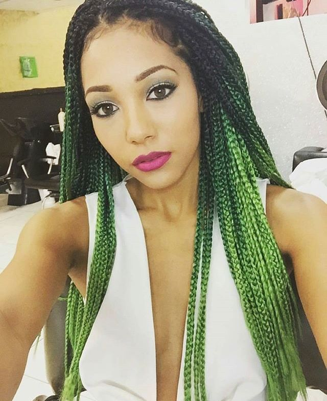 ombre hair verde