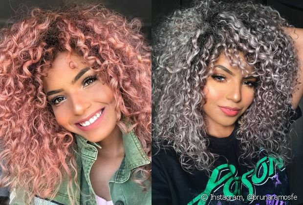 cabelo cacheado colorido